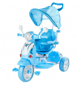 Aziamor Triciclo Vespa 2 in 1 Con Manico Direzionabile Azzurro per Bambini
