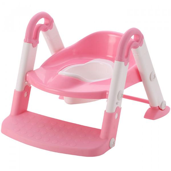 Aziamor Baby step 3 in 1  Vasino Sedile con scaletta colore Rosa